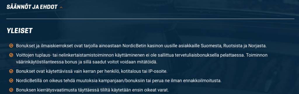 Nordicbet bonuskoodin ehdot